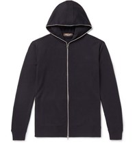 Loro Piana Cotton And Cashmere Blend Zip Up Hoodie Navy
