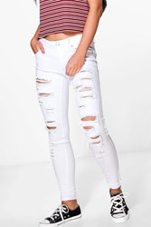 Boohoo Leah Ripped Low Rise Skinny Jeans White