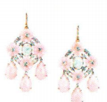 Irene Neuwirth One Of A Kind 18K Rose And White Gold Earrings Set With Carved And Rose Cut Pink Opal 45.96Cts Opal 2.35Cts 3Mm Cultured Pearls And Full Cut Diamonds 4.1Cts On Pave Hooks 0.03Cts