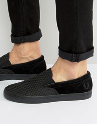 Fred Perry Underspin Slip On Woven Trainers In Black