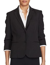 Lauren Ralph Lauren Front Button Three Quarter Sleeve Blazer Black