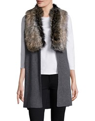 Splendid Faux Fur Trimmed Knit Vest Coal Black