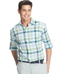 Izod Lightweight Plaid Pocket Long Sleeve Shirt Seacrest