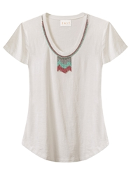 East Beaded Neck Jersey Top White