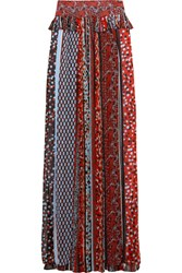 Just Cavalli Pleated Printed Chiffon Maxi Skirt Red