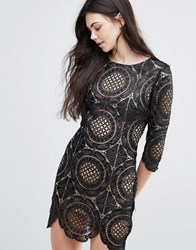 Goldie London Calling Embroidered Lace Mini Dress Black