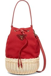 Prada Giardiniera Leather Trimmed Canvas And Wicker Shoulder Bag Red