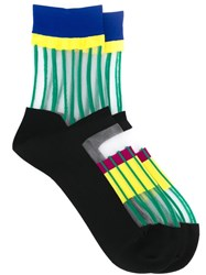 Issey Miyake Striped Sheer Socks Black