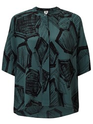 John Lewis Kin By Hexagon Print Shirt Teal