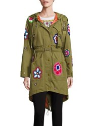 Moschino Embroidered Floral Parka Army Green
