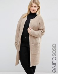 Asos Curve Knitted Midi Cardigan Oatmeal Brown