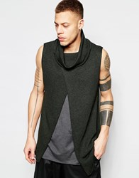Asos Sleeveless Sweater With Cowl Neck And Wrap Front Loden