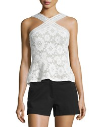 Bcbgmaxazria Annica Sleeveless Lace Peplum Top White Women's