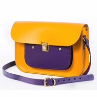 N'damus London Lemon And Purple 11 Inches Mini Pocket Satchel Yellow Orange