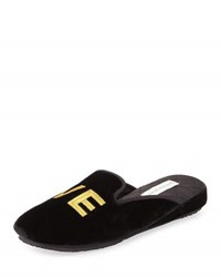 Patricia Green Love Velvet Slipper Black
