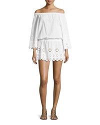 Miguelina Gabriela Geometric Embroidered Off The Shoulder Dress Pure White