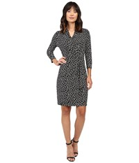 Karen Kane 3 4 Sleeve Cascade Wrap Dress Black Off White Women's Dress Multi