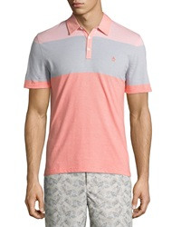 Penguin Striped Colorblock Polo Shirt Coral Almond