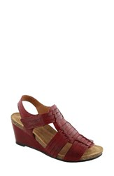 Taos Women's Tradition Wedge Sandal Red Leather