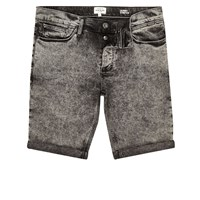 River Island Mens Black Acid Wash Skinny Fit Denim Shorts