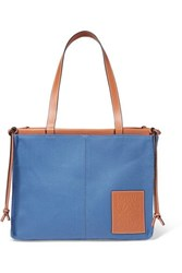 Loewe Cushion Large Leather Trimmed Canvas Tote Blue