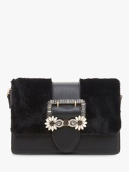 Dune Efiee Faux Fur Jewel Trim Bag Black