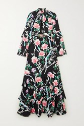 Andrew Gn Tiered Ruffled Floral Print Silk Crepe De Chine Gown Black