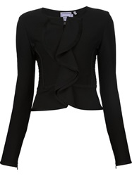 Herve Leger Fitted Ruffle Jacket Black