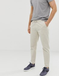 D Struct Elastic Waist Cropped Chino Trousers Stone