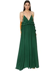 Rochas Ruffled Silk Crepe Georgette Gown