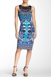 Hale Bob Laser Cut Yoke Printed Dress Multi
