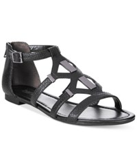 Bar Iii Rodeo Gladiator Flat Sandals Only At Macy's Women's Shoes Black Snake