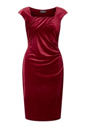James Lakeland Side Ruched Velvet Dress Red