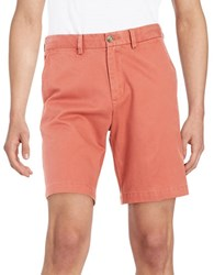 Black Brown 9 Inch Cotton Twill Shorts Antica Red