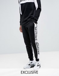 Hype Skinny Joggers In Black With Logo Panels Black