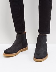 Boss Suede Chelsea Boots In Dark Grey