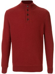 Gieves And Hawkes Button Collar Knitted Jumper Orange