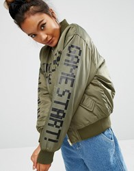 Mini Cream Bomber Jacket With Back Print And Contrast Lining Khx Green