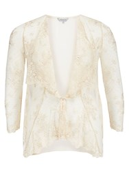 Chesca Scallopped Lace Coverup Neutral