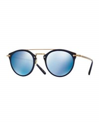 Oliver Peoples Remick Mirrored Brow Bar Sunglasses Blue