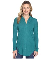 Mod O Doc Slub Jersey Drop Shoulder Side Button Shirt Vintage Teal Women's Clothing Blue
