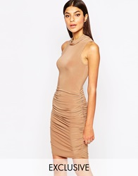 Club L Slinky Pencil Dress With Side Ruched Detail Lightbeige