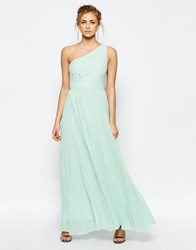 Oasis Lace One Shoulder Pleated Maxi Dress Green