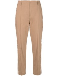 Dorothee Schumacher Frayed Cropped Trousers Brown