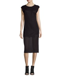 Public School Uma Cap Sleeve Ribbed Shift Dress Black