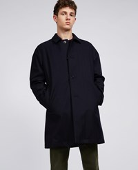 Aspesi Herringbone Wool Raincoat Perfetto Navy Blue
