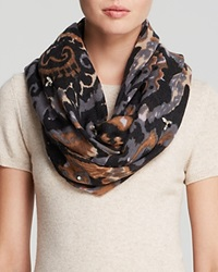 Rose And Rose Jeweled Ikat Scarf Grey Chocolate