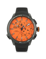 Timex Yacht Racer Pro Black Stainless Steel Case And Silicone Strap Men's Chrono Watch