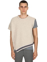 Lanvin Asymmetrical Wool Sleeveless Sweater Off White