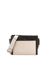 Charles Jourdan Fraiser Colorblock Pebbled Leather Crossbody Bag Cream Black